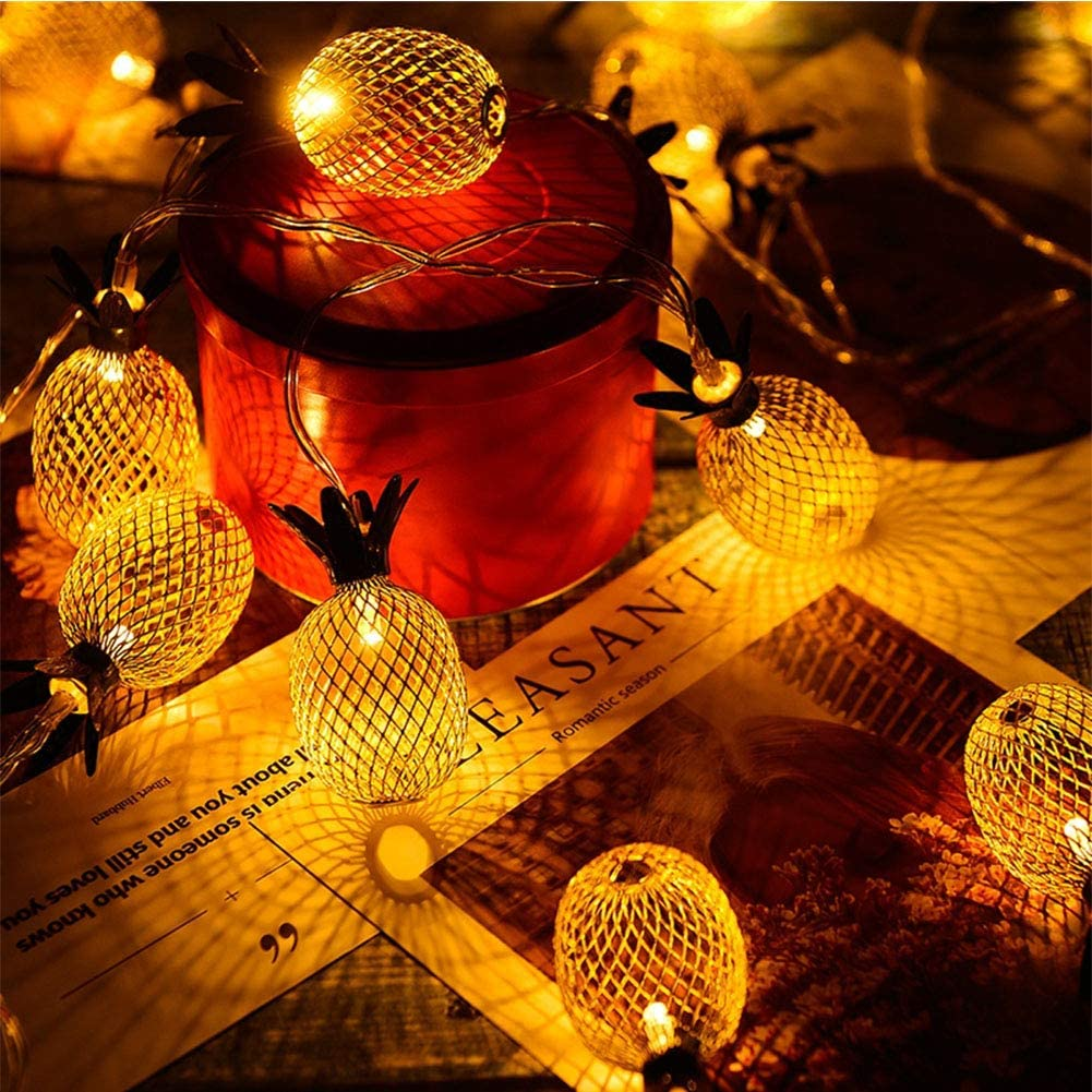 Twinkle Star 10 LED 6.6ft Pineapple String Lights Warm White,Battery Operated String Lights Metal Mesh Decorative for Indoor Bedroom Wedding Party Christmas