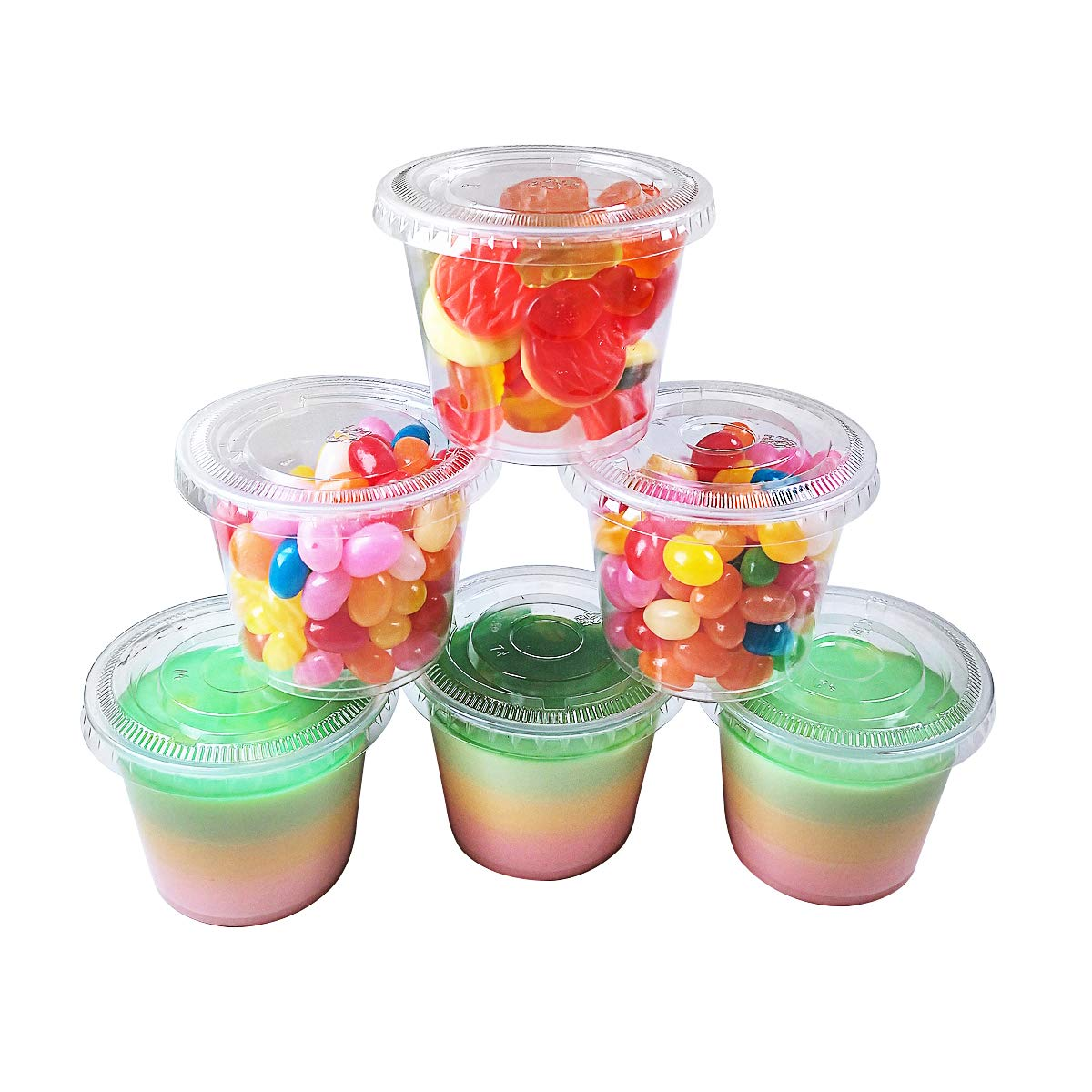 TashiBox 5.5 oz 200 Sets Disposable Plastic Jello Shot Cups with Lids, Souffle Portion Cups (5.5 oz 200 Sets) by TashiBox