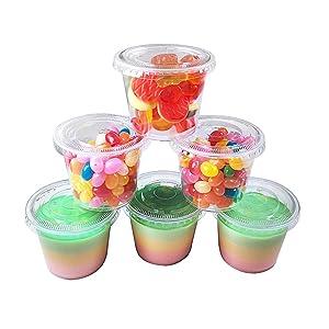 TashiBox Plastic Lids Jello Shot Souffle, Dressing Condiment Cups, 5.5 Ounce, Clear