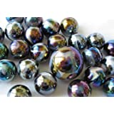 """Unique & Custom {5/8"""" Inch} Set Of 25 """"Round"""" Opaque Marbles Made of Glass for Filling Vases, Games & Decor w/ Iridescent Creative Metallic Shiny Design [Assorted Colors] w/ 1 Shooter"""