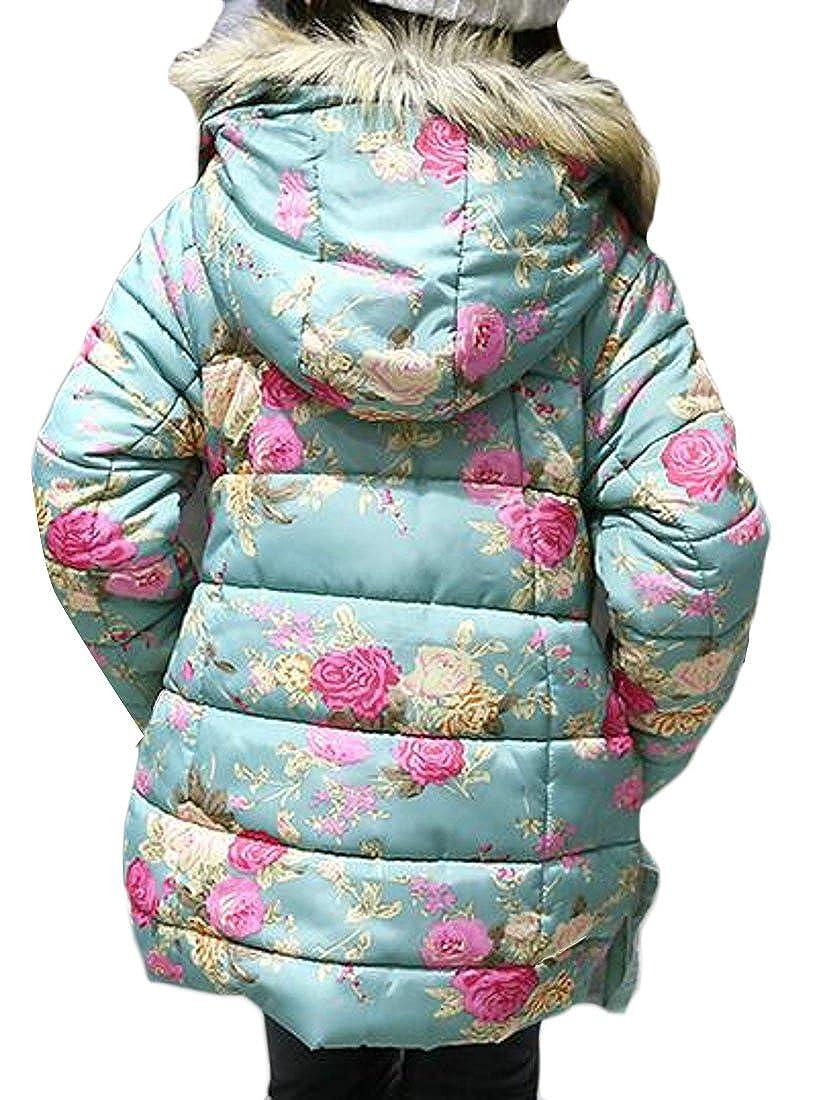 Sweatwater Girls Fashion Faux Fur Hood Floral Outdoors Parka Jackets Coats