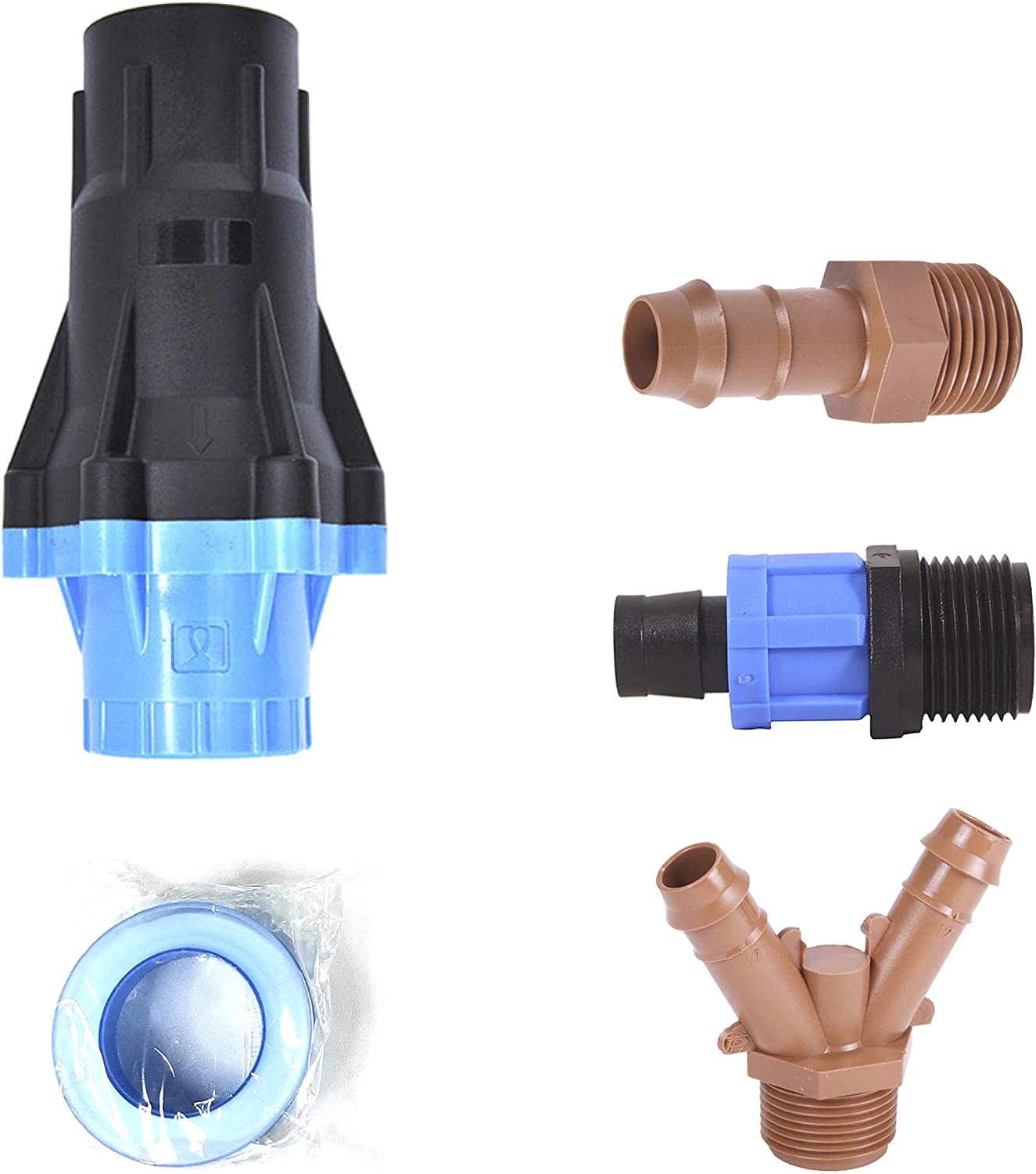 """Universal Drip Irrigation Faucet Adapter Connector Kit: Connect Any 1/2 Inch Tubing to 3/4"""" Inch Faucet/Garden Hose - Includes 25PSI Pressure Regulator, Three Adapters & Teflon Tape"""