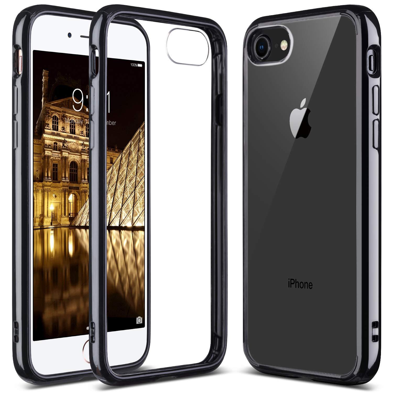 e52ea1b86a ULAK iPhone 7 Case Clear with Black Bumper, iPhone 8 Clear Case, Slim Fit  Premium Hybrid Shockproof & Scratch Resistant Clear Case Cover Hard Back  Panel+TPU ...
