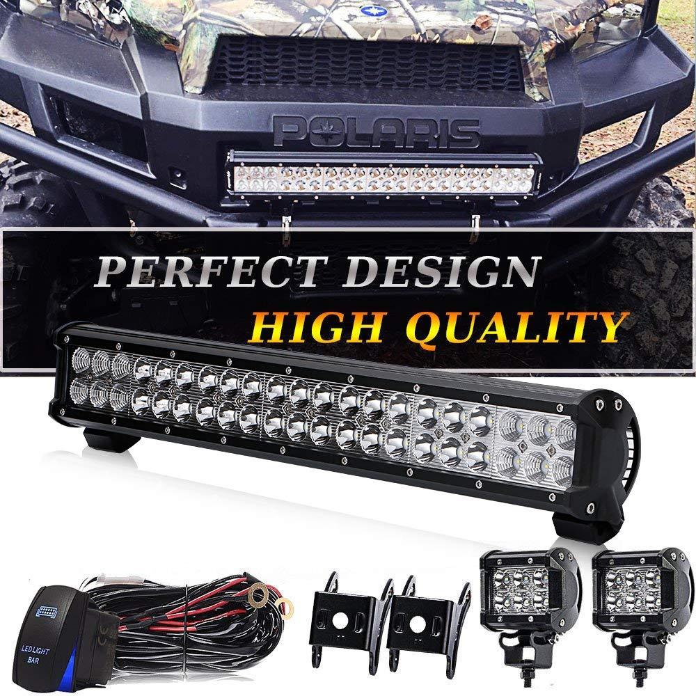 Amazon.com: 20 IN LED Light Bar W/2pcs Spot Pods Cubes Switch Harness Fit  Tractor Boat Utv Golf Cart Jeep Ford Polaris RZR Ranger Honda Atv Gmc Yukon  Pickup ...