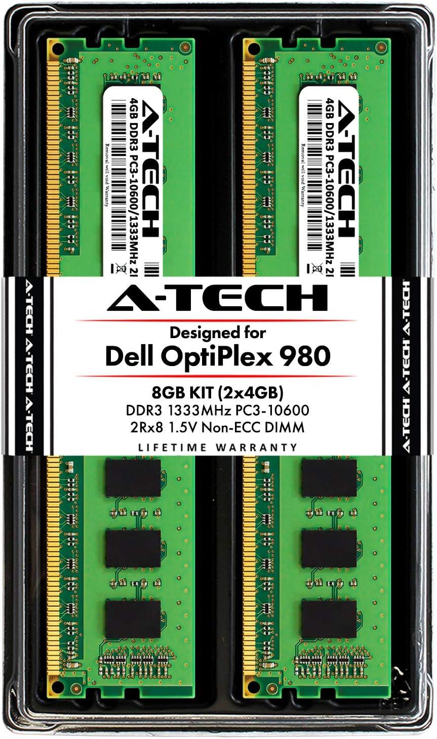A-Tech 8GB Kit (2 x 4GB) RAM for Dell OptiPlex 980 (MT, DT, SFF) - DDR3 1333MHz PC3-10600 Non-ECC DIMM Memory Modules