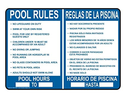 metal Signs Swimming Pool/Spa Sign, 14 x 10 in. with English + Spanish  Text, White
