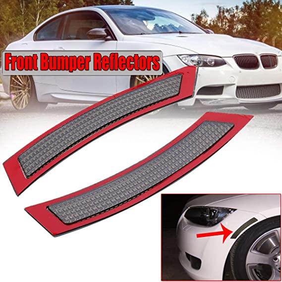 Overun Front Side Marker Fender Bumper Replacement Reflector Dark Smoked Lens Designed for 2007-2013 E92 E93 2DR