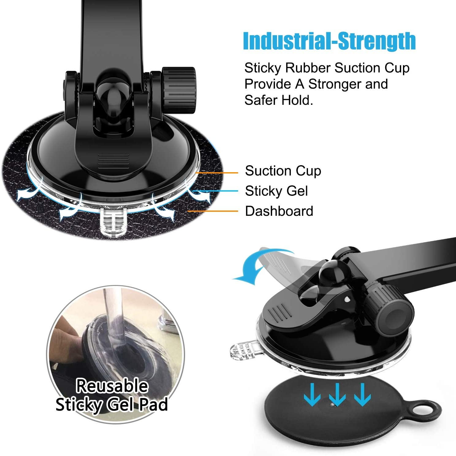 WixGear Universal Dashboard Curved Phone Car Suction Cup Mount Holder for Cell Phone 360 Degree Rotation Compatible with iPhone Xs//XS Max 8//7 Phone Holder for Car 6 Galaxy S and More