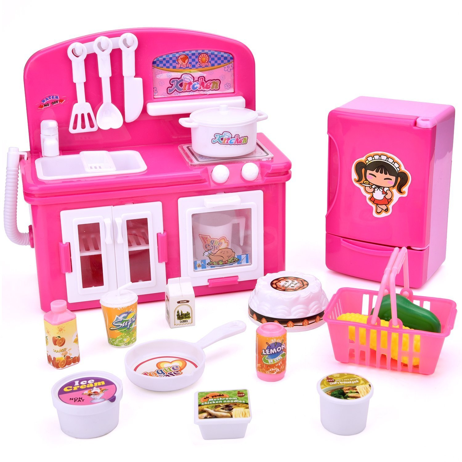 19 PCs Kitchen Appliance Toys with Kitchen, Refrigerator, Pot and Tableware, Pretend Play Set for Kids, Play Kitchen Appliance
