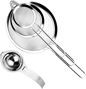 Sieve Fine Mesh, KISSDATE Sieves Kitchen Stainless Steel with Rim 7/12 / 18 cm Along with Egg Separator, Food Strainers and Sieves for Baking Cooking and Pasta Rice Sifting