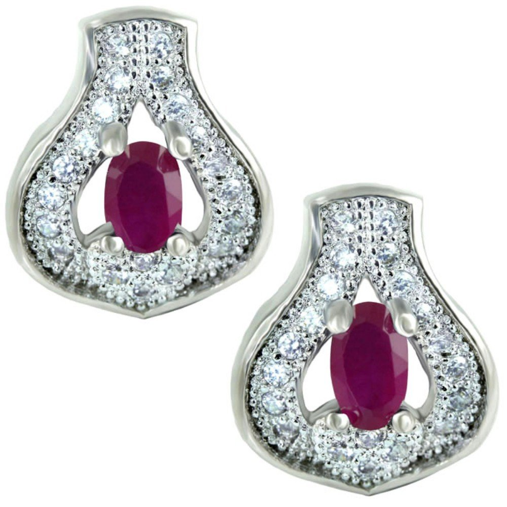 SuperShineGems Red Ruby Colour Stone~For Women Fashion Earring Cz Cubic Zirconia Stones Earring
