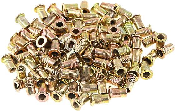 Keadic 150pcs M3 Metric Zinc Plated Carbon Steel Rivet Nut Flat Head Threaded Insert Nutsert Kit M3 Amazon Com Industrial Scientific