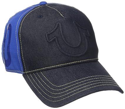 8336c5621eaa83 True Religion Men's Raised Horseshoe Baseball Cap, Dark Indigo, One Size