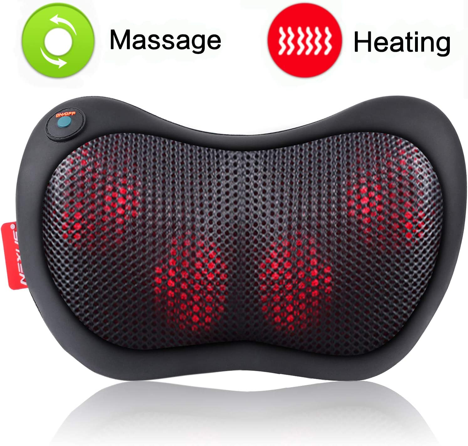 Neck Massager Pillow with Heat – Shiatsu Back and Shoulder Massager with Deep Tissue Kneading, Electric Back Massage for Full Body, Relaxation at Home, Car Office