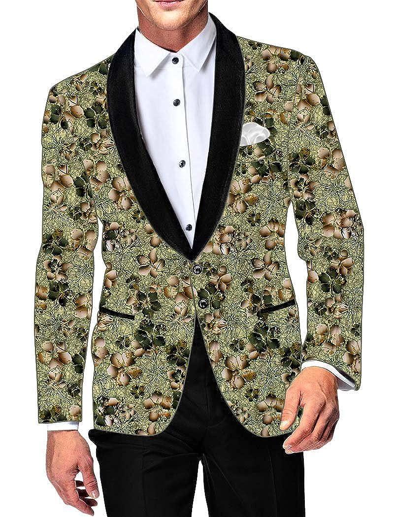 INMONARCH Mens Green Cotton Blazer Floral Printed SB18169