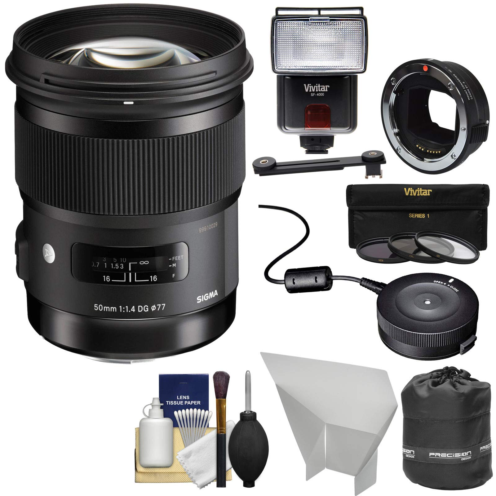 Sigma 50mm f/1.4 Art DG HSM Lens (for Canon EOS) with MC-11 Mount Converter + USB Dock + Flash + Kit for Sony FE & E-Mount Cameras