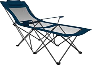 ARMOR CASTLE Camping Chair with Footrest Mesh Folding Lawn Chairs Reclining with Removable Pillow Cup Holder for Outdoor Beach Pool Heavy Duty 300 lbs Capacity