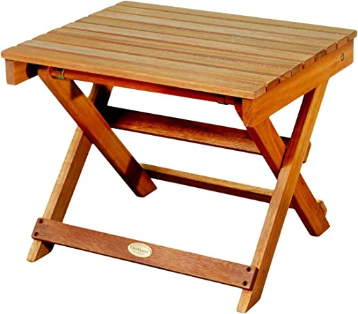 QLS Coffee Table Garden Table Wooden Table Made of Pine Wood Camping Table for Sun Lounger 60 x 43 x 29 cm