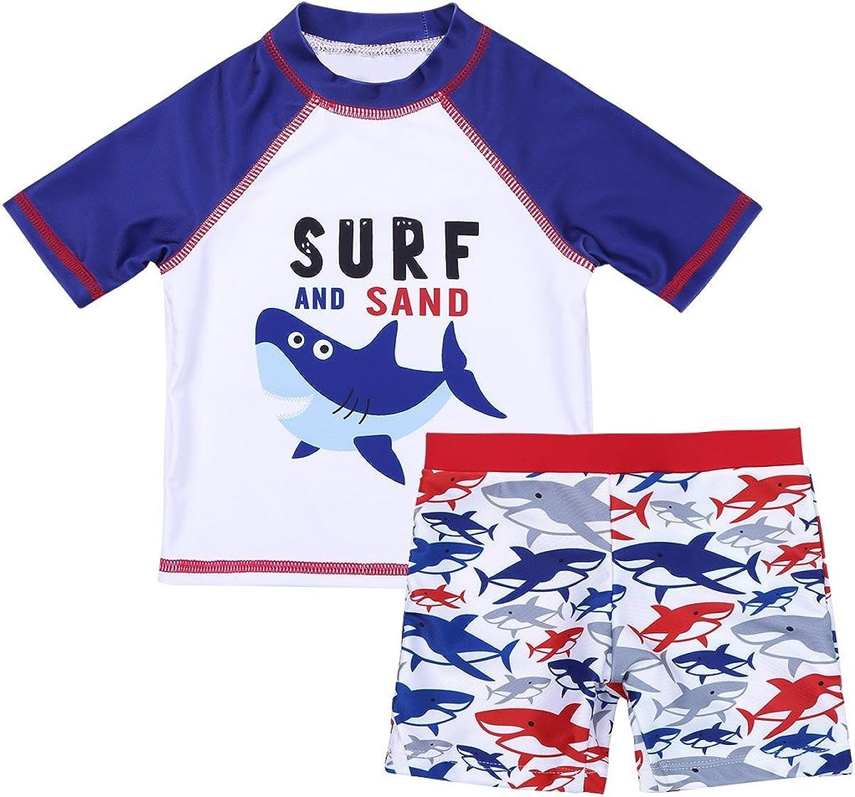 iiniim Kids Boys Whale Shark Rash Guard Short Long Sleeve Swimsuit Tankini Swimwear Sun Protection Swim Trunks Shirt Cap Set