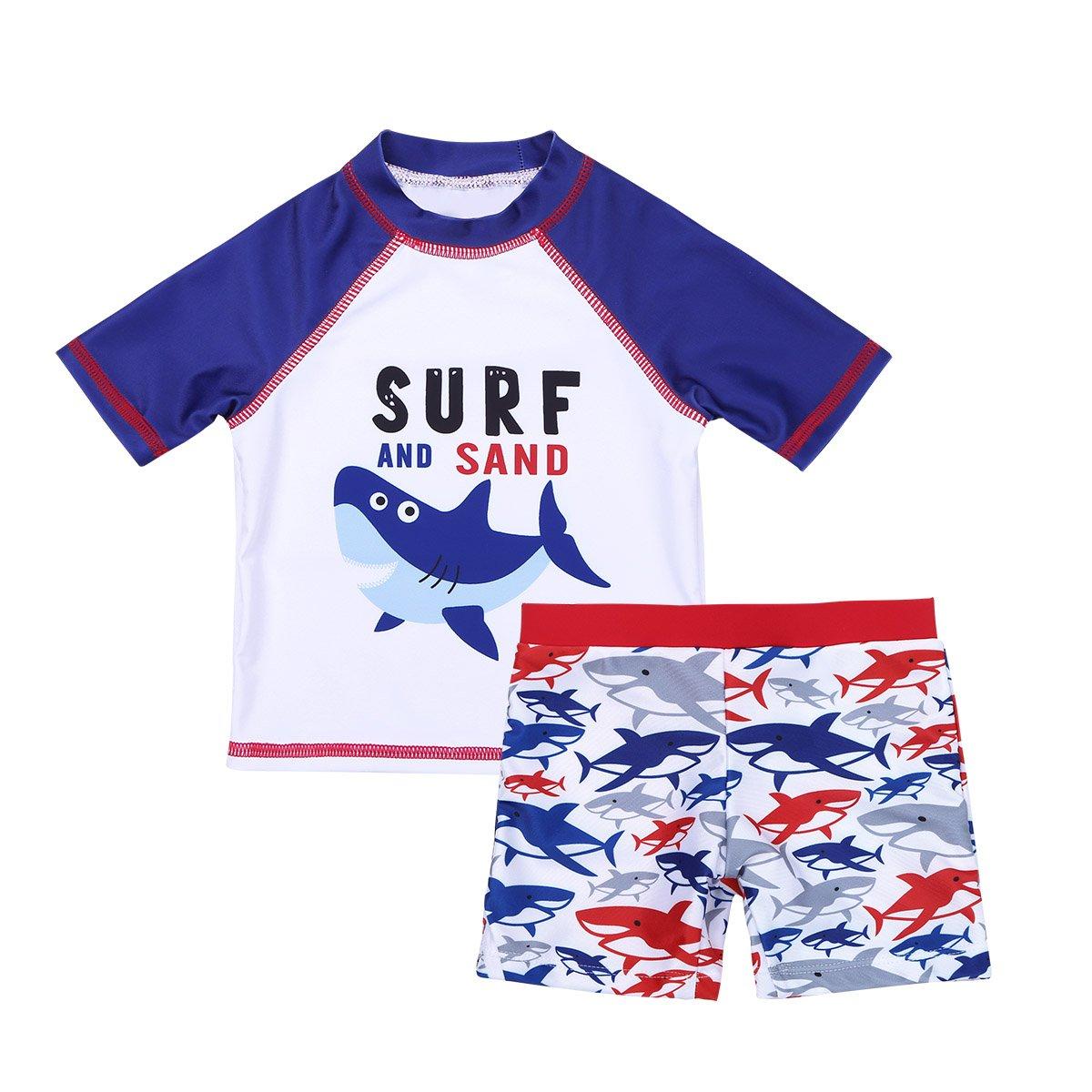 ACSUSS Toddler Baby Boys Girls 2PCS Tankini Swimwear Shark Print Shirt with Shorts Rash Guard Set