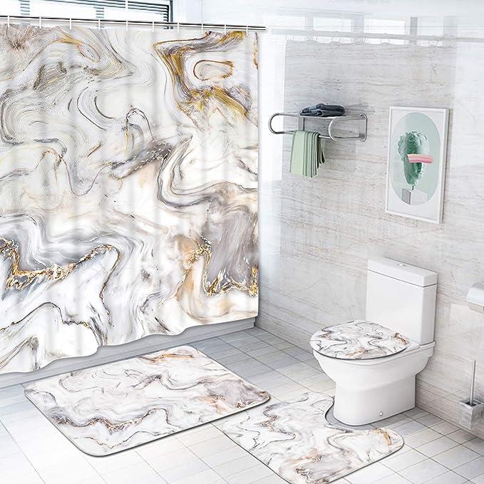 NARUTO0 Bathroom Rugs Shower Curtains Set Bath Mats Toilet Lid Cover Mats 4PCS