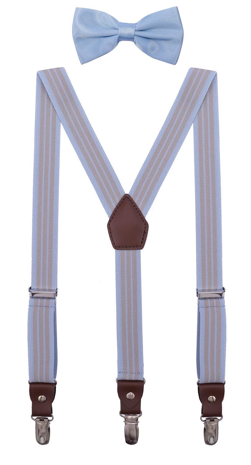 ORSKY Little Boys' Bow Tie and Suspenders Adjustable Elastic 30 Inches Blue Grey Stripe