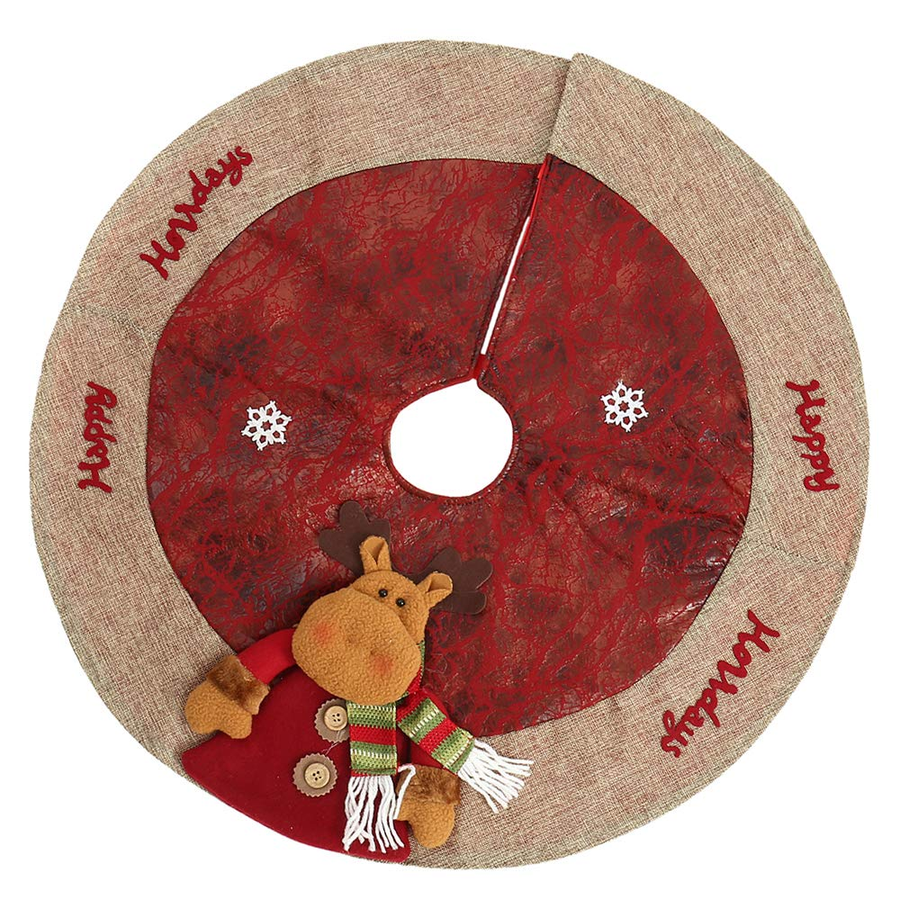Wrightus 25in Christmas Tree Skirt Red with 3D Reindeer Snowflakes Handmade Burlap Edge Xmas Decorations Indoors Holiday Decor for Home (25 Gingerbread Man)