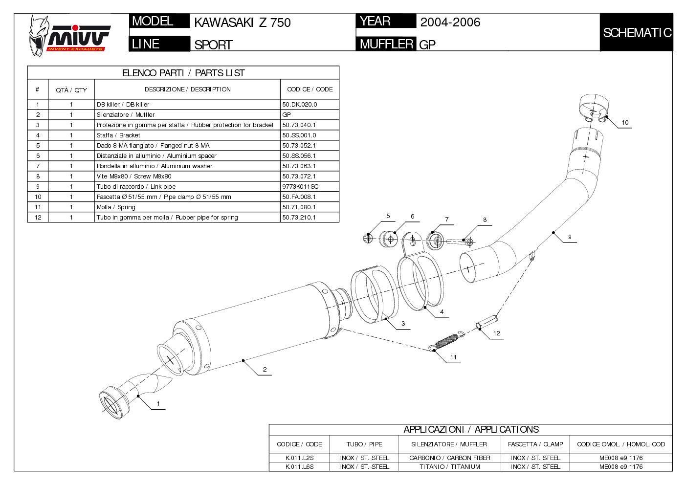 TUBO ESCAPE MIVV KAWASAKI Z 750 Z750 GP STEEL BLACK 2004 2005 2006