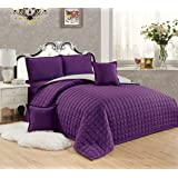 Moon Compressed Two-Sided Color 6 Pieces Comforter Set, King Size, Pu-Be, Mixed Material
