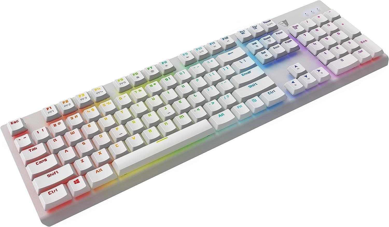 Tesoro gram Spectrum - Teclado para Juegos (QWERTZ) con iluminación RGB y grabación Macro, Color Blanco