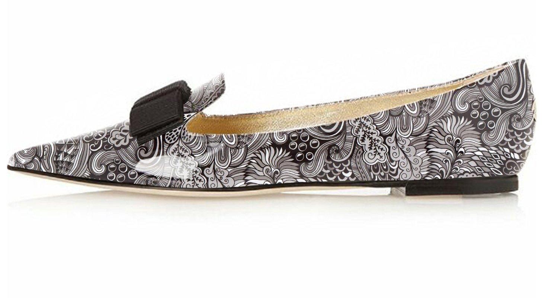Eldof Women's Flats, Pointed Toe Flats Pumps, Patent Leather Flats Pumps, Walking Dress Office Classic Comfortable Flats B07F13Q3CZ 8.5 B(M) US|Gray-flower