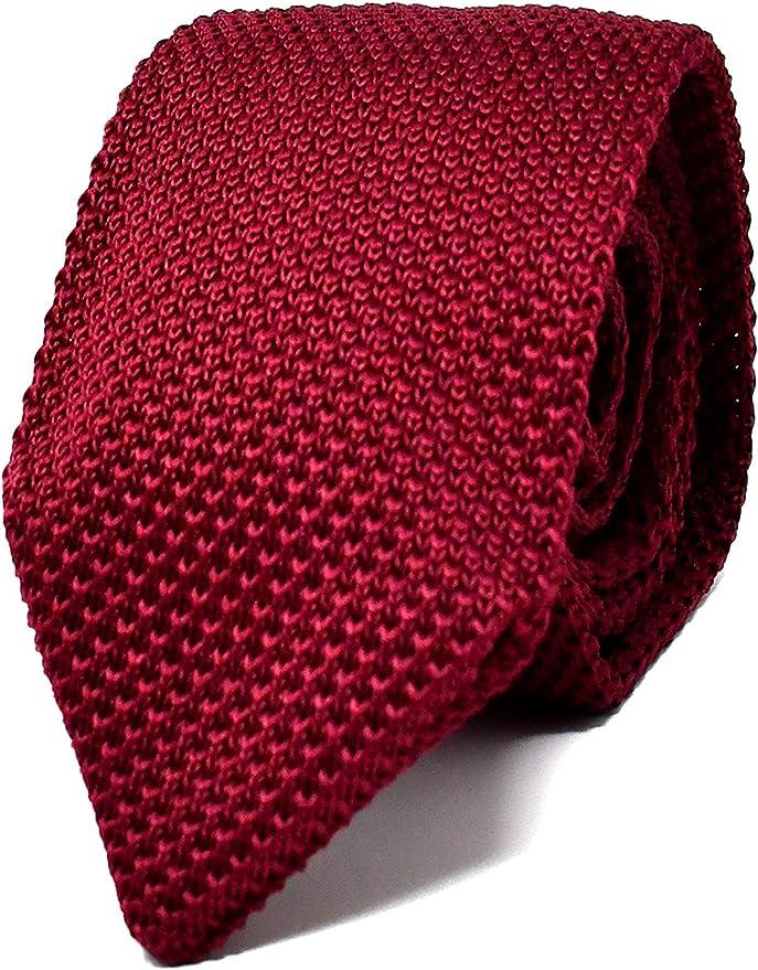 Oxford Collection Corbata de hombre Rojo Burdeos de Punto - 100 ...