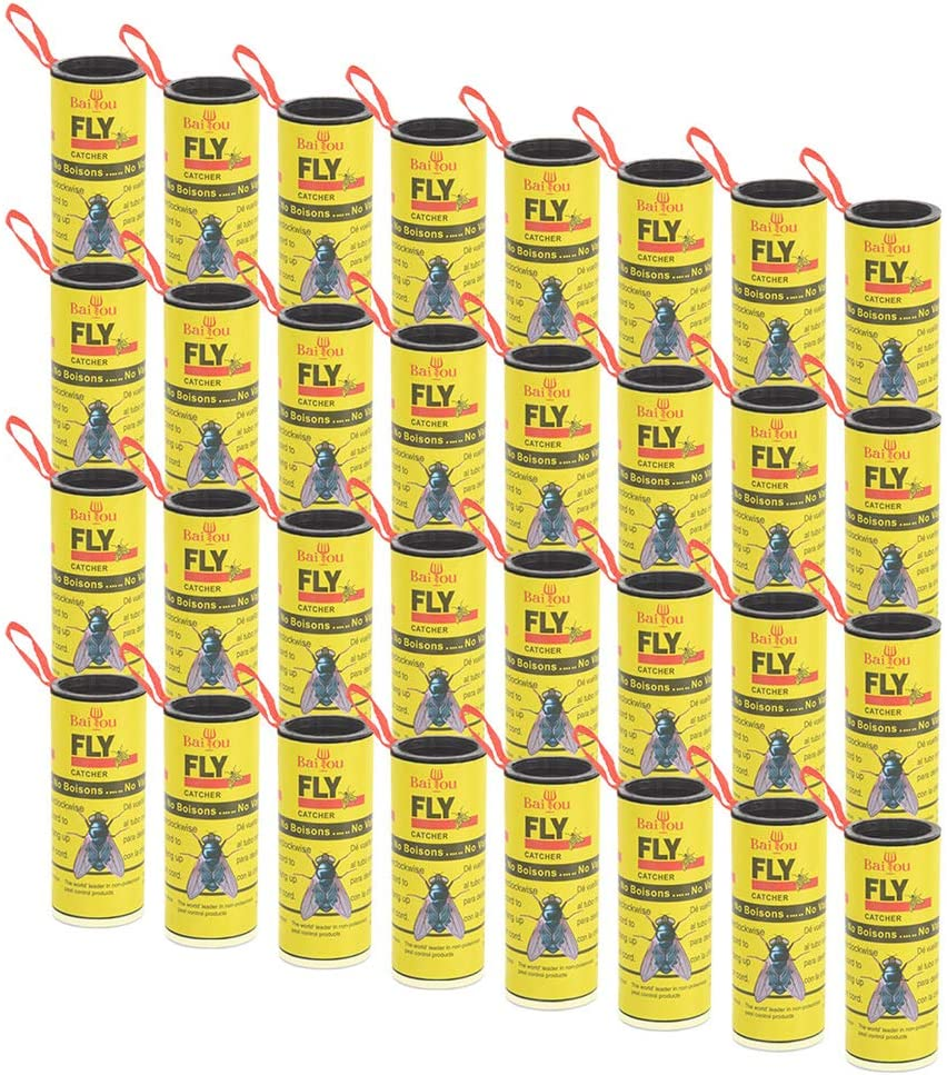 BaiYou Atrapa Moscas Tiras Atrapamoscas Adhesivos Trampa Moscas Rueda 32 Rollos Atrapa Moscas y Mosquitos Exterior Interior para Invernadero Jardin No Tóxico