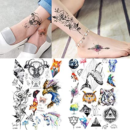MRKAL Tatuajes Temporales Geométrica Flor De Rosa Ciervos Tiger ...