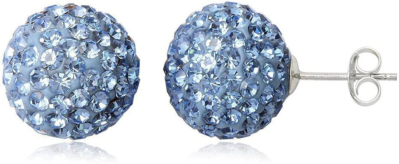 Pendientes de bola de discoteca, tuerca, de plata de ley, 12 mm, 29 colores surtidos