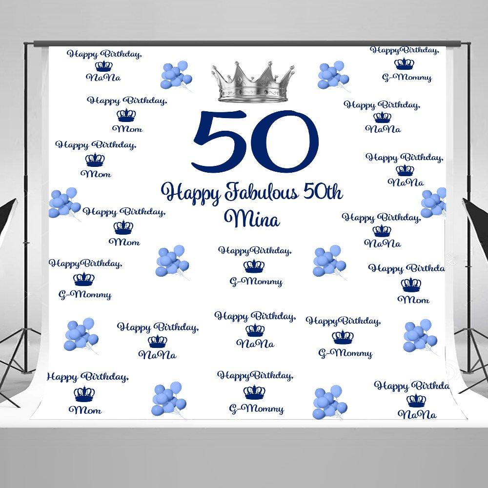 8 x 8ft Silvery Nobleクラウンfor Mommy 50th誕生日パーティーFabulous Ballon背景for Mom 'sパーティー装飾ブルーテーマを祝うママの日壁カーテンPhoto Shoot Studio小道具   B0794X3KJ3