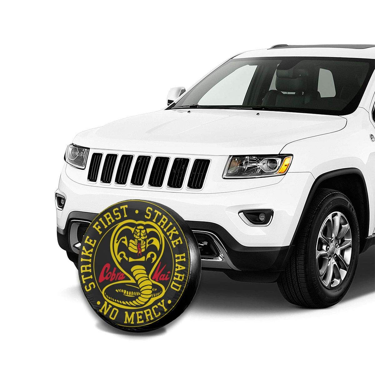 14,15,16,17 Inch Cobra Kai Spare Tire Cover Dust-Proof Universal Wheel Protector Fit for Jeep and Various Vehicles