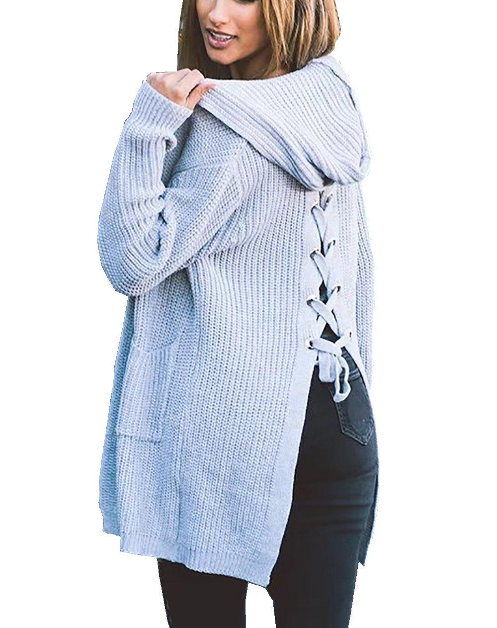 CoCo Fashion Damen Longstrickjacke Strick Bluse Cardigan Jacke mit Langarm (Einheitsgröße, Grau)
