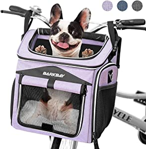 BARKBAY Dog Bike Basket Carrier, Expandable Foldable Soft-Sided Dog Carrier, 2 Open Doors, 5 Reflective Tapes, Pet Travel Bag,Dog Backpack Carrier Safe and Easy for Small Medium Cats and Dogs
