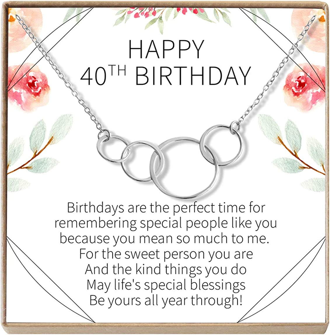 Jewlery Gift for Her Dear Ava 40th Birthday Gift Necklace: Birthday Gift Silver-Plated-Brass, NA 4 Asymmetrical Circles