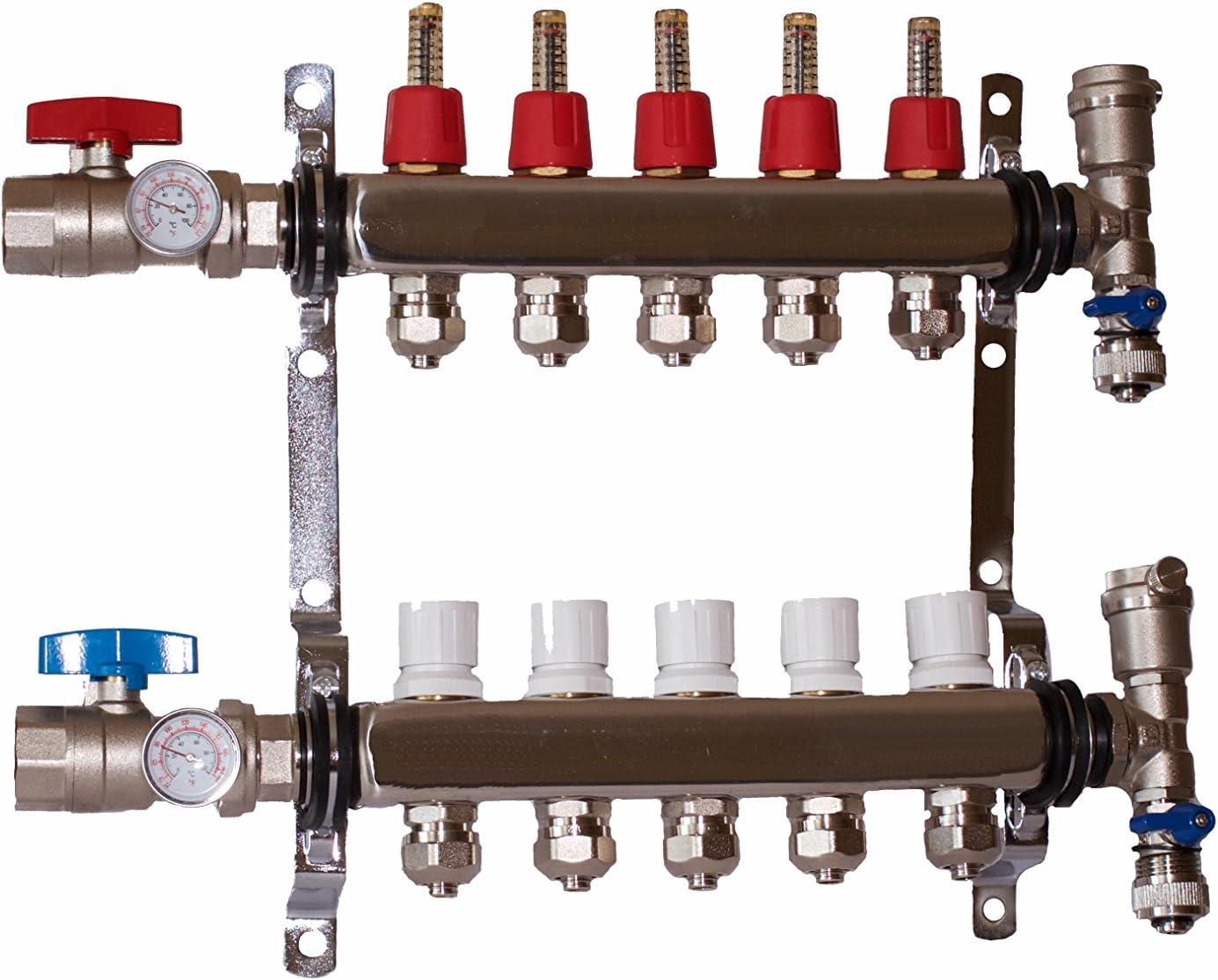 "10 Branch PEX Radiant Floor Heating Manifold Set for 1//2"" PEX"
