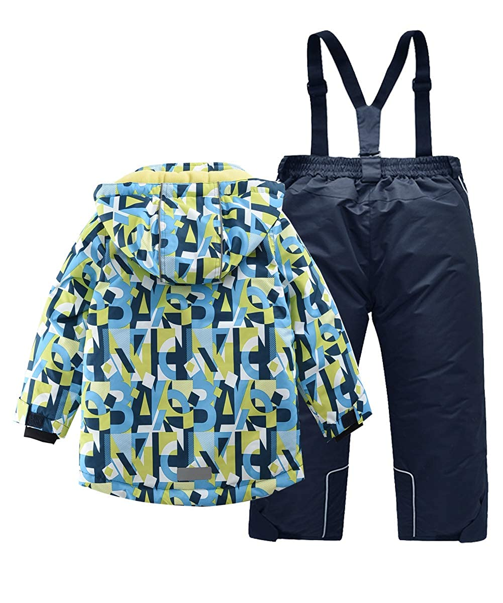 Amazon.com  Hiheart Boys Snowsuit Winter Ski Jacket and Pants Set Blue   Clothing c0441efc6