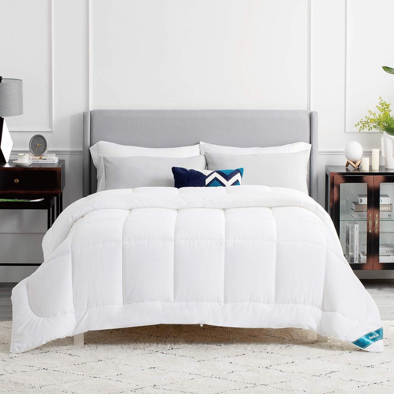 Bedsure Edredón Nórdico Relleno Cama 150 Invierno - 450 gr/m² - 220x240 cm Blanco, de Fibra Suave y Antiácaro, Reversible y Grueso