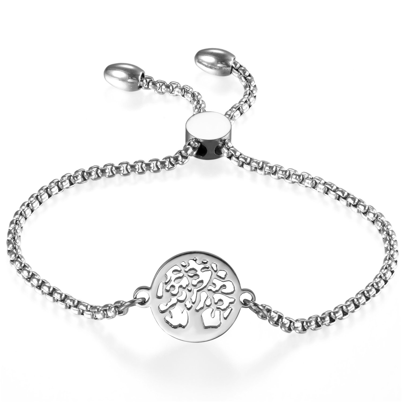 Women Adjustable Bracelet, Cupimatch Tree of Life Stainless Steel Charm Bracelet Link Chain 8.8 CU-MI-28