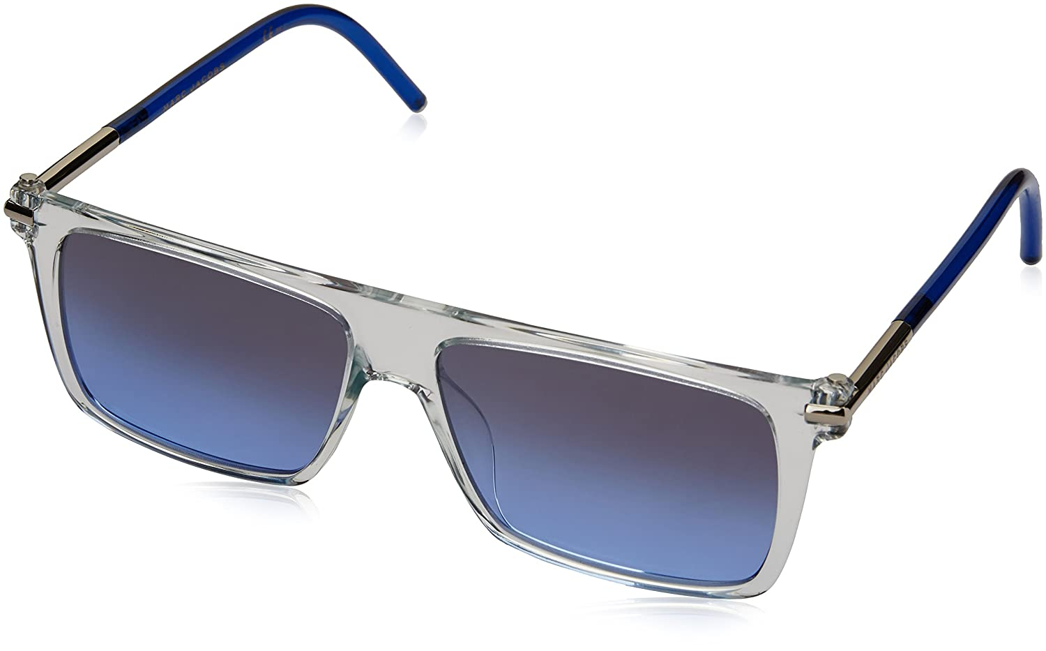 Marc by Marc Jacobs Men's Marc46S Rectangular Sunglasses Crystal/Gray Blue/Silver Patent Gradient 55 mm Marc by Marc Jacobs Sunglasses (Safilo Group)