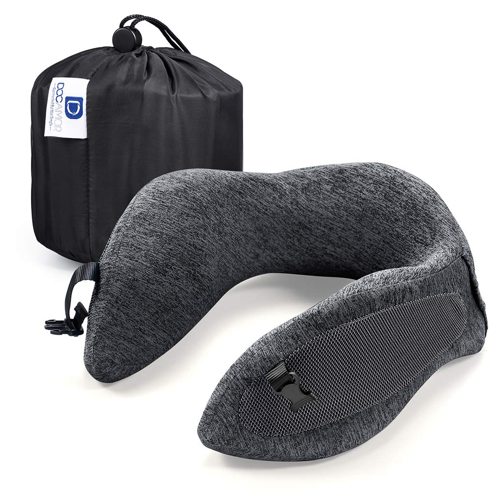 Docamor Memory Foam Travel Neck Pillow Compact U-Shaped Neck Support Pillow with Easy-to-Carry Bag Washable Cover and Adjustable Neck Size for Plane Train Car Bus Office Napping