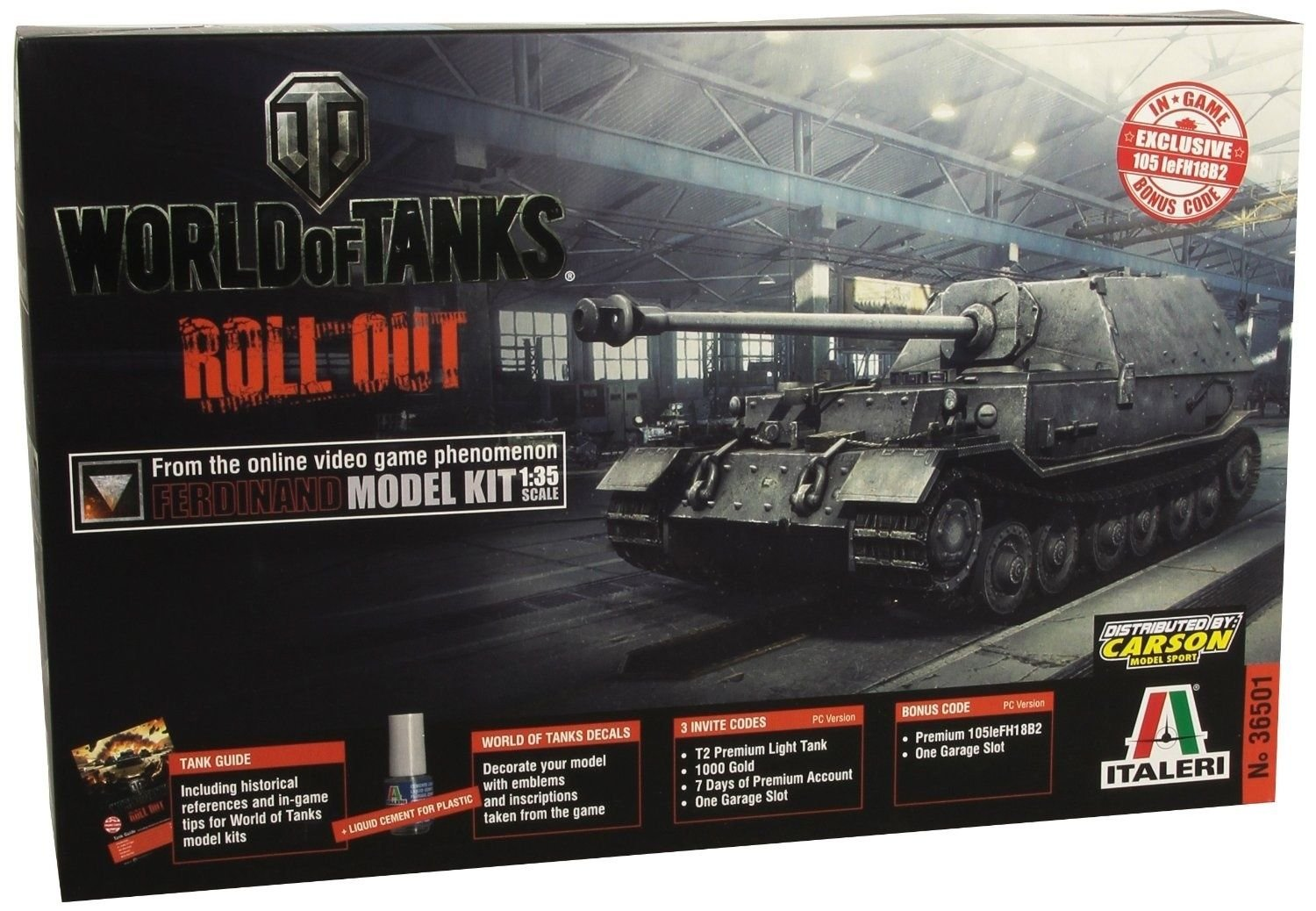 Italeri 37501 1/35 World of Tanks Ferdinand Plus Codes by