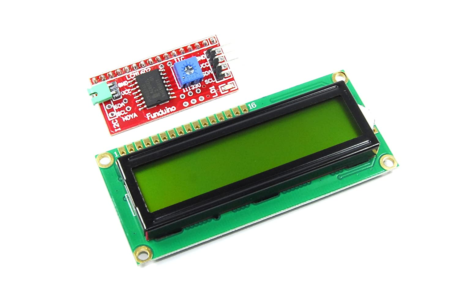 16x2 Green LCD with Funduino I2C Interface MB-063 1602 HD44780 Keyes LBAA100048