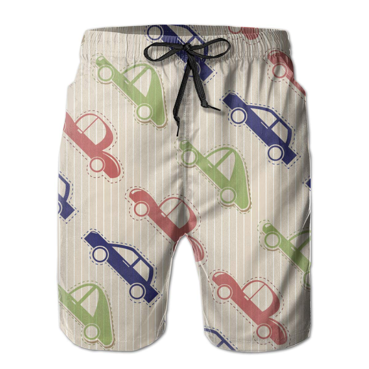 Car for Boys Mens Funny Swim Trunks Quick Dry Summer Surf Beach Board Shorts with Mesh Lining//Side Pockets