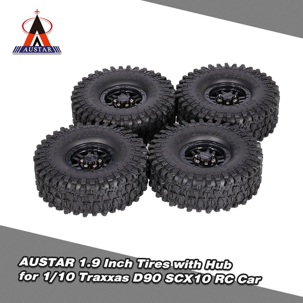 Goolsky 4Pcs AUSTAR AX-5020C 1.9 Inch 120mm Tires with Hub for 1//10 Traxxas Redcat SCX10 AXIAL RC4WD TF2 Rock Crawler